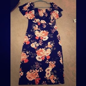Dark blue floral dress